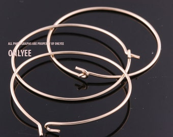 6pcs-30mmBright Gold plated Brass Hoop Ear Wires Earrings(K916G)