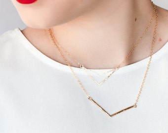 SALE Huali necklace - gold necklace, gold bar necklace, gold V necklace, gold chevron necklace, minimal jewerly, hawaii necklace, hawaii jew