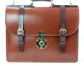 Chestnut Bridle Leather Briefcase With Red Calf Suede Lining