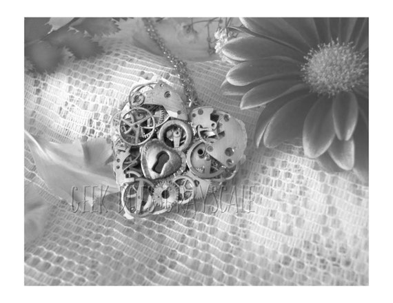 Grayscale Steampunk Heart Necklace