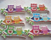 40mm Wood Buttons Owls on a Branch Owl Shape Buttons Pack of 6 WW3044