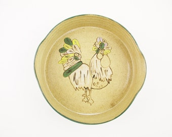 Rooster Art - A Large Speckled Tan Bowl With Steep Sides - Dark Brown Outlined Rooster - Loden Green Rim and Feathers - Signed in Script