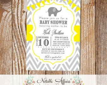 Gray and Bright Yellow Elephant Chevron Baby Shower Birthday or Gender Reveal Invitation with bunting - choose your colors