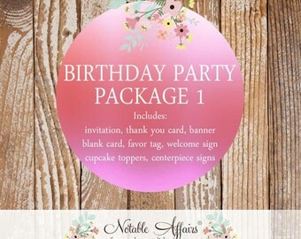 Birthday  Party Package Set 1 - includes Invitation, Cupcake Toppers, Favor Tags, Welcome Sign, Square Banner and more