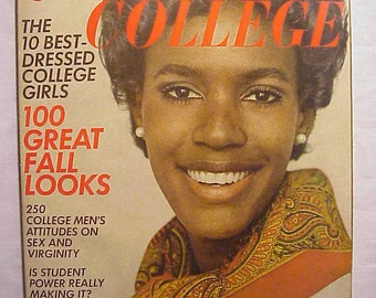 August 1968 Glamour College Magazine, has 248 pages of ads and articles with Katiti Kironde on the cover , Great Fashion Magazine