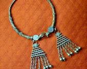 70's 80's Huge India Rajastan Gypsy Goddess ceremonial Antique silver tone tassels bells statement Ring torque choker bib necklace