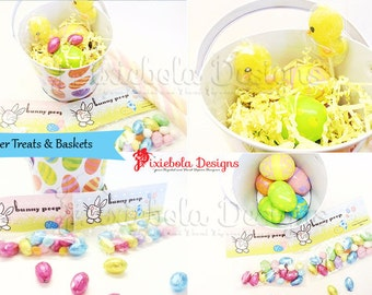Easter Treat Toppers- Bunny Tails- Instand Download