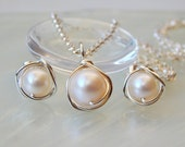 Freshwater Pearl Necklace Earring Set, Jewelery Set, Pearl Earring Pendant Set, Bridesmaids Set, Wedding Jewellery, Wife Gift
