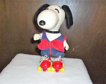 Vintage Poseable Snoopy on Roller Skates