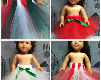 CLEARANCE -  Your Choice of Style/Color Christmas Tutu for your 18 Inch Girl Doll - American Girl, Newberry, Journey Girl and more