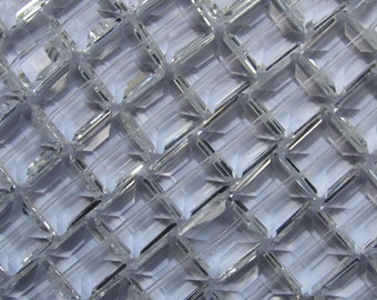 """QUARTZ CRYSTAL BEADS Clear 14x14mm Faceted Square Quality Chinese 12 pc 6"""" strand"""