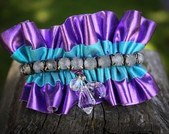 METALLIC purple and turquoise CHARM BRACELET