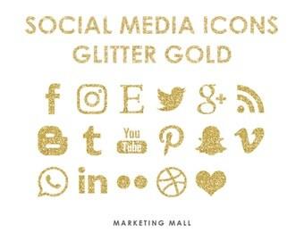 Glitter Gold Social Media Icons, Social Media Buttons, Gold Social Icons, Website Blog Icons, Business Branding, Blog Buttons, Gold Glitter