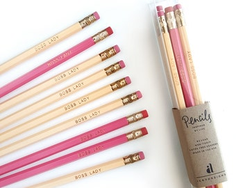 Boss Lady Pencil Set — 9 Pencils in Cream and Pink in Plastic Gift Box — Imprinted Pencils, Engraved Pencils, Fun Gifts for Her
