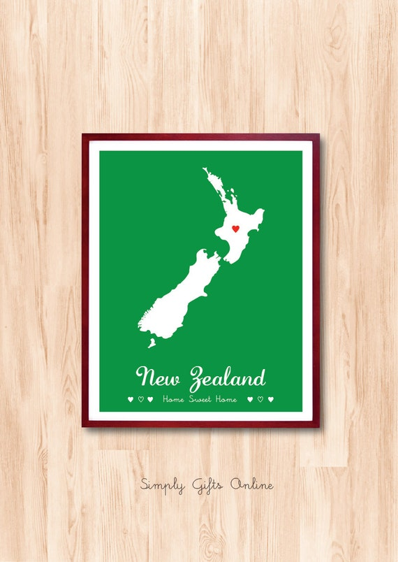 New Zealand - Country map art, State map art, Nursery room art, Personalized gift, Wedding gift, Art print, wall decor, wall art, kids art