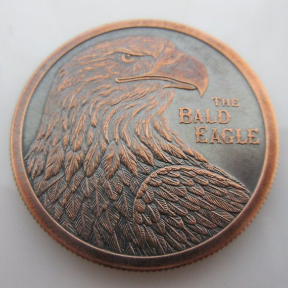 Bald Eagle Black Patina 1 Oz .999 Pure Copper Challenge Coin