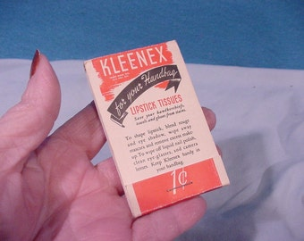 Vintage Kleenex Lipstick Tissues Packet, Advertising Curtiss Corn Muffin Mix
