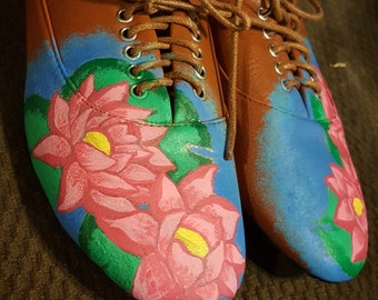 Hand Painted Floral Designed Shoes