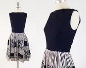 Vintage 50s Cotton Day Dress - Sleeveless A Line Black & White Dress w/ Open Back and Pom Pom Skirt - Size Small S