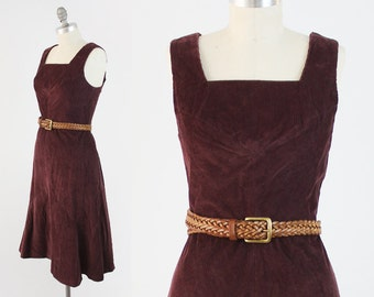 Vintage 70s Corduroy Dress - Sleeveless Burgundy Cotton Sundress - Festival Summer Midi Dress by Leomag Creation - Size Medium Large