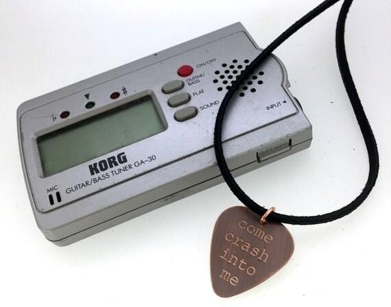 Engraved & Antiqued Copper Guitar Pick Necklace - Dave Matthews Band - Come Crash Into Me-  Boyfriend Gift,  Summer Sale, Husband