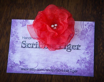 FLOWER HAIR CLIP with Swarovski crystals - Red Organza