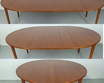 mid century Danish modern large teak round expanding dining table w/ 2 leafs