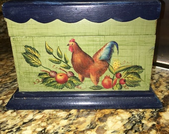 Vintage Rooster, Chicken, Recipe Box, Country Kitchen, [F]