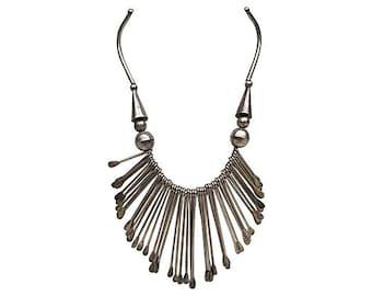 Silvertone Fringe Necklace