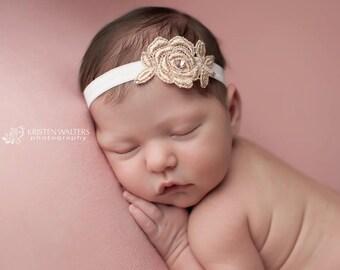 Baby Girl Headband- Chic Crystals-Rose Gold Headband-Swarovski Crystals-Photo Prop-Baby Girls-Baptism-Handmade Headband-Delicate Headband