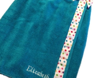 KIds Beach Cover Up - Girls Swimsuit Cover Up - Kids Beachwear - Childrens Wrap Around Towel - Girls Beach Cover Up - Monogrammed Beach Wrap