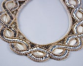 Japanese Ladies Collar, Vintage 1930's, Detachable, Faux Pearls, Sequins and Seed Beads Collar on White Satin Backing