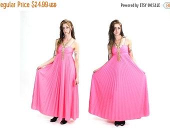 HUGE DISCOUNT 35% OFF 1970s Salmon Pink Accordion Pleat Maxi Dress