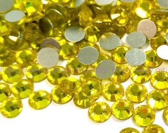 144pcs Yellow Crystal Rhinestones Flatbacks (Citrine) No Hotfix available in 2mm 3mm 4mm 5mm 6mm