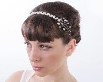 Silver  Crystal Tiara, Freshwater pearls crown, Bridal Headpiece, Bridal Headband, Bridal Crown, Bridal Hair Accessory, Bride Halo, art deco