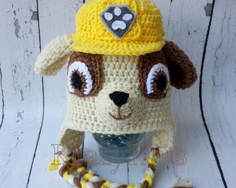 Crochet dog hat. Paw Patrol hat.Rubble hat.