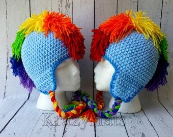 Rainbow Blue Mohawk Hat.Mohawk hat.