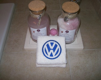 Embroidered  Bath or Gym White Hand Towels car logo Volkswagen -Set of 2 - Fathers day gift