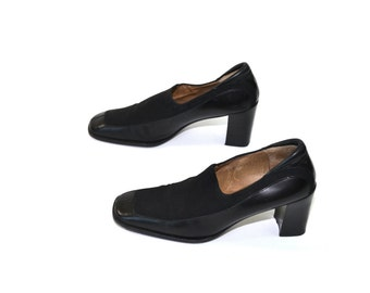Vintage Black Shoes Black Dress Shoes Black Chunky Heel Shoes Womens Black Shoes