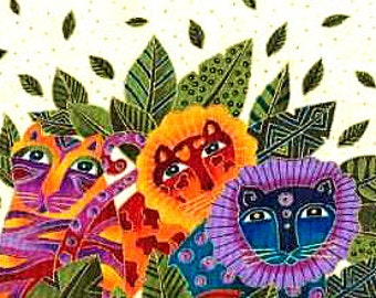 Laurel Burch Jungle Songs Collection Cat Fabric by Clothworks on White Retired Out of Print FQ