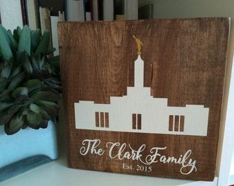 Custom LDS Temple paint wood sign