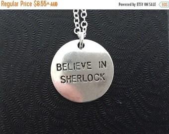 SALE Belive in Sherlock Necklace, Sherlock Holmes, John Watson, Moriarty, Fandom