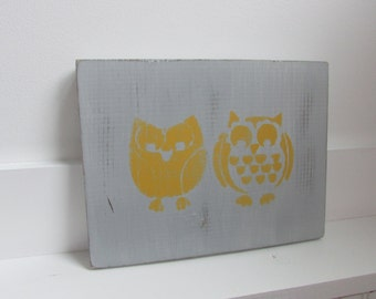 Owl Sign - Wood Owl Sign - Gray and Yellow Owl Sign - Distressed Wood Owl Sign - Owl Nursery Wall Decor - Gray and Yellow Nursery Decor -7x9