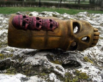 Handmade Unique Yellow Smoking  Pipe with see-trough skull, small red totem skulls