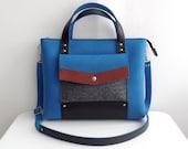 Blue Gray Brown Black Felt Leather Handbag