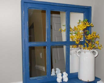 Large Blue Mirror-Rustic Mirror Faux Window 6 Panel Mirror