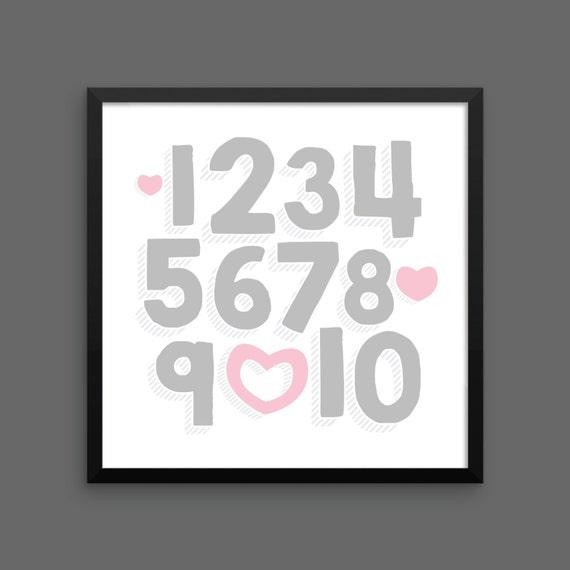 I LOVE YOU (Silver & Pink) Framed Number Poster Print - Nursery, Kids Room, Wall Art Modern
