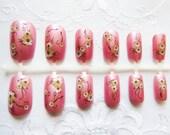 Pretty Pink Floral Fake Nails, Acrylic Nails, Press on, Nails, False Nails, Flowers, Flower Nails