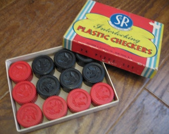 Vintage S & R Interlocking Plastic Checkers, Set of 24 Pieces in Original Box