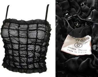 COURRÈGES 1970s Vintage Sequined Silk Top Black Cropped Top Size XS NOS